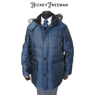 30%OFFセール メンズコート ダウンコート ブルー シルク 混フード付き ハーフコート ヒッキーフリーマン M L XL hcd3