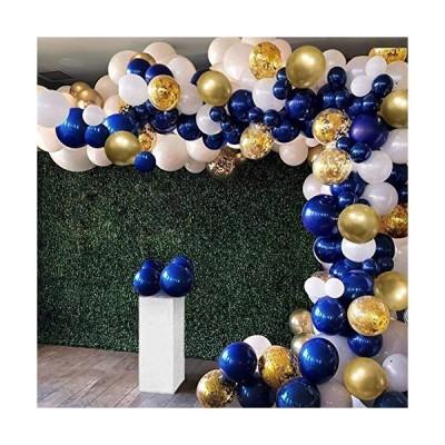 紺青バルーンセット 誕生日飾り付け 128点セット ゴールド紙吹雪風船 ホワイト 風船アクセサリー付け 誕生日