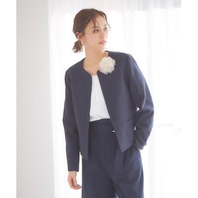 abahouse mavie/アバハウス マヴィ ecru 綾織りツイードジャケット ネイビー 38