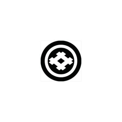 家紋シール 丸に角立て井筒紋 直径4cm 丸型 白紋 4枚セット KS44M-0475W