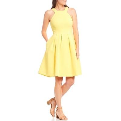 アレックスマリー レディース ワンピース トップス Monica Halter Sleeveless Sleeveless Pleated Fit-and-Flare Dress Lemon