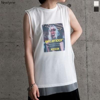 【メール便対応】[チュール重ねプリントタンクトップTシャツ NL CS SC  ]【2020SS】◆入荷済