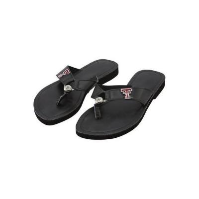 カレッジ NCAA USA アメリカ Texas Tech red Raiders レディース サークル ストーン Flip Flop ブラック