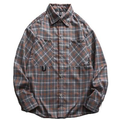 シャツ メンズ 長袖 チェックシャツ 大きいサイズ ゆったり かっこいい 吸汗通気 春夏秋服 スポーツ アウトドア ファッション