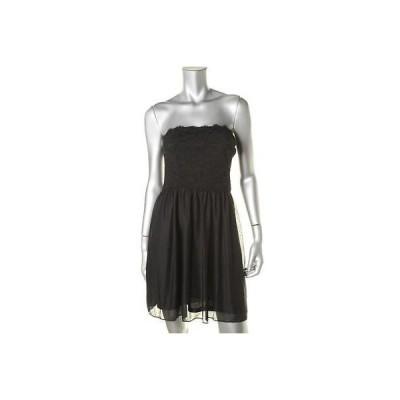 海外セレクション ドレス ワンピース Jump ウェア 1457 レディース ブラック mesh Lace-Trim Party ドレス Juniors 13/14 BHFO