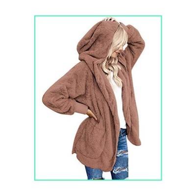 LookbookStore Womens Loose Solid Winter Open Front Hooded Draped Pocket Fleece Cardigan Fuzzy Outerwear Coat Dark Pink Size L (Fit US 12 - US 14)並