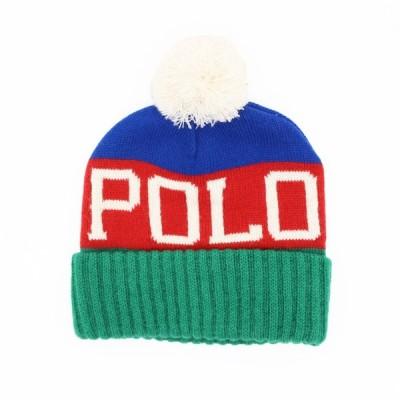ポロ ラルフローレン ロゴ ポンポン ビーニー ニット帽 / POLO RALPH LAUREN LOGO POM POM BEANIE [GREEN/RED/BLUE]