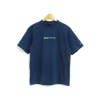 【中古】バックチャンネル BACK CHANNEL Tシャツ カットソー 半袖 ロゴ プリント 刺繍 コットン 紺 M ※NK-21109 ※02 メンズ 【ベクトル 古着】