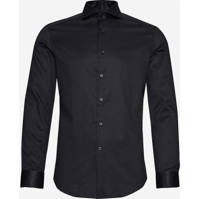 リース REISS メンズ シャツ スキニー・スリム スリム トップス Storm slim-fit cotton-poplin shirt BLACK
