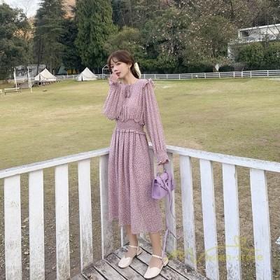 レディースロングワンピース長袖ワンピ花柄ワンピースリゾートフレアハイウエスト旅行シンプル韓国ファッション着痩せがーりー