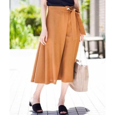 MICHEL KLEIN / ミッシェルクラン 【セットアップ対応/洗える】リネンライクラップデザインスカート