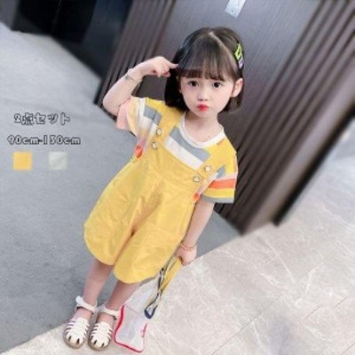 子ども服 夏服 セットアップ 可愛い 女の子 幼児 Tシャツ+オーバーオール レジャー デイリー キッズ 姉妹 半袖 ストライプ柄 Tシャツ 五