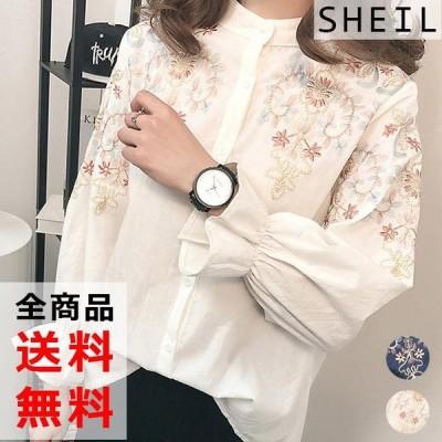 シャツ ブラウス 長袖 ブラウス トップス レディース 刺繍 長袖 花柄 シャツ オフィス 白 紺