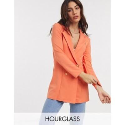 エイソス レディース ジャケット・ブルゾン アウター ASOS DESIGN Hourglass glam double breasted jersey blazer in orange Orange