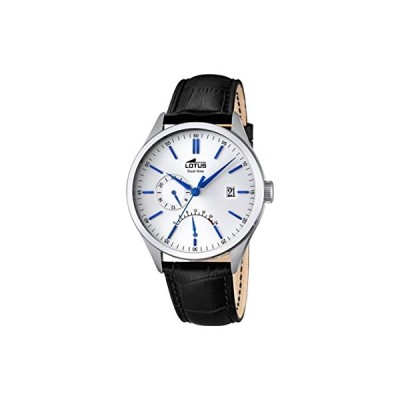 Lotus Men's Quartz Watch with White Dial Analogue Display and Black Leather Strap 18214/1 並行輸入品