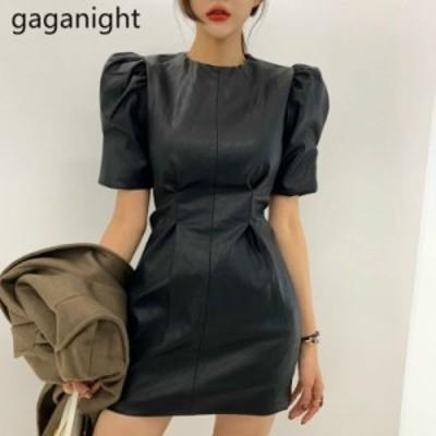 レディースファッション Gaganightヴィンテージファッション女性パーティードレスパフ半袖Oネックオフィスレディエレガントなド