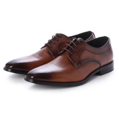 ジーノ Zeeno ビジネスシューズ メンズ 革靴 ロングノーズ 防滑 プレーントゥ レースアップ 外羽根 (Brown)