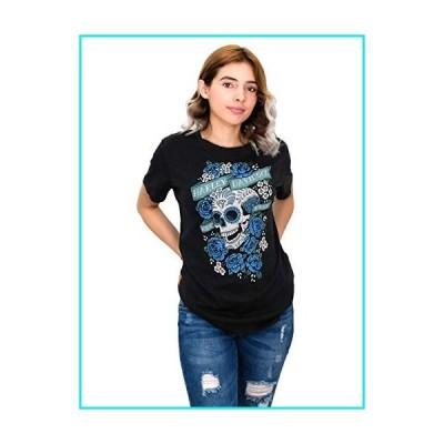 Harley-Davidson Womens Laugh Now Sugar Skull Roses Black Short Sleeve T-Shirt (2X)【並行輸入品】