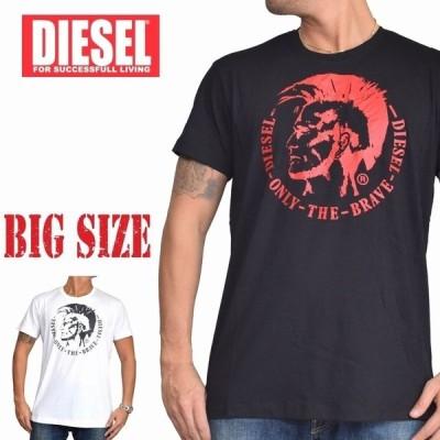 SALE 大きいサイズ メンズ ディーゼル Diesel クルーネック Tシャツ T-HEAD-PS 黒 白 赤 ネイビー XXL XXXL [M便 1/1]