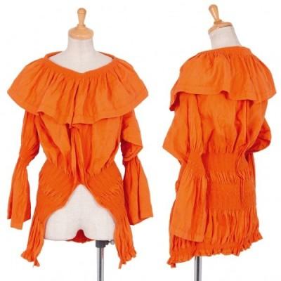 イッセイミヤケ エーポックISSEY MIYAKE A-POC ギャザー編み替えフリルチュニックトップス オレンジ2 【レディース】