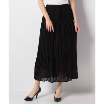 STYLEBLOCK シフォンロング丈フレアプリーツスカート(ブラック)【返品不可商品】