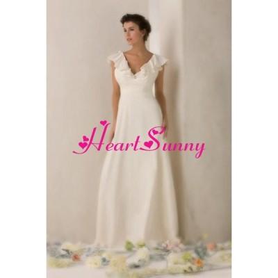 ウェディングドレス Vネック ベアバック フレンチ袖 スレンダー A103