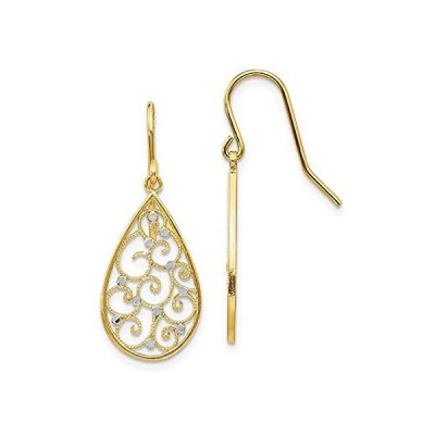 14k Yellow Gold and Rhodium Plated Teardrop Earrings好評発売中
