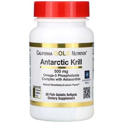 南極クリル(オキアミ)オイル、アスタキサンチン配合、RIMFROST(リムフロスト)社製、ストロベリー&レモンの天然風味、500mg、魚ゼラチンソフトジェル30粒