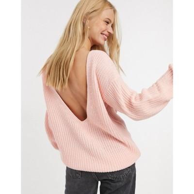 グラマラス レディース ニット・セーター アウター Glamorous relaxed sweater with scoop back