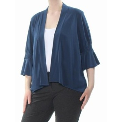 CeCe  ファッション 衣類 CeCe Womens Jacket Blue Size Small S Cardigan Flutter Smocked Sleeve