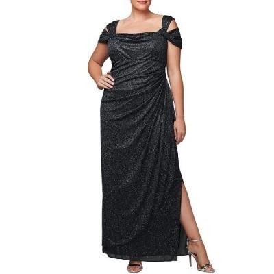 アレックスイブニングス レディース ワンピース トップス Plus Cold Shoulder Glitter Mesh Gown Black