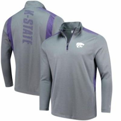 Champion チャンピオン スポーツ用品  Champion Kansas State Wildcats Heathered Gray Button Hook Quarter-Zip Jacket
