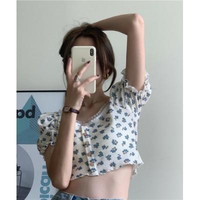 tシャツ Tシャツ 小花柄フレンチガーリートップス