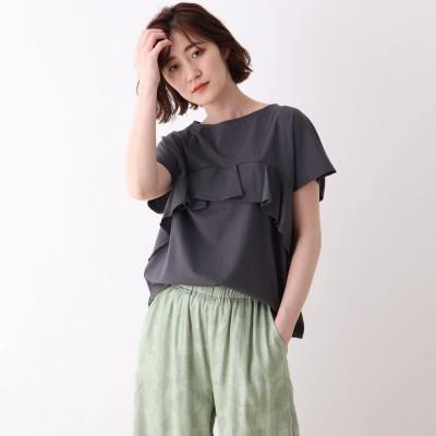 シューラルー SHOO-LA-RUE コットンフリルTシャツ (ディープグレー)