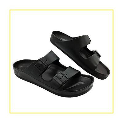 新品LUFFYMOMO Adjustable Slip on Eva Double Buckle Slides for Mens (12 M US Black)並行輸入品