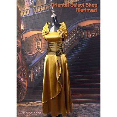 リサイタル用 ドレス結婚披露宴のゲスト出席用ドレス演奏会にもカラードレス琥珀色薔薇コサージュ・ショールデザイン