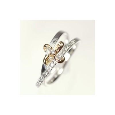 【ホワイトゴールド】K18WG・K18PG・ダイヤモンド0.07ct ピンキーリング(指輪)