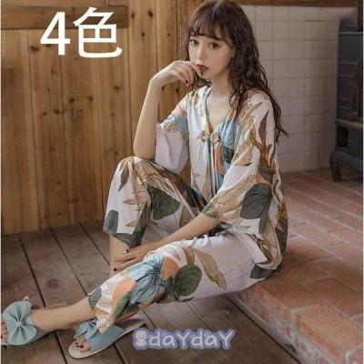 パジャマ レディース 2点セット 春夏 ルームウェア 上下セット 花柄 七分袖  長ズボン  寝間着 部屋着 体型カバー 大きいサイズ      韓国風 可愛い 新作