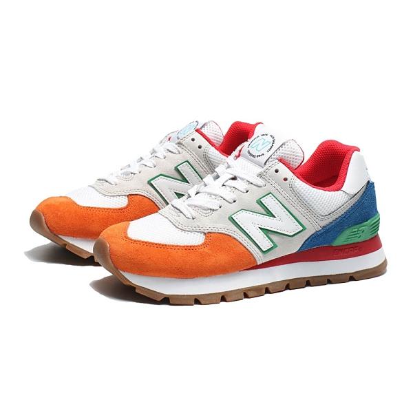 NEW BALANCE 休閒鞋 574 米橘 樂高配色 拼接 麂皮 復古 運動 男女 (布魯克林) ML574DRU