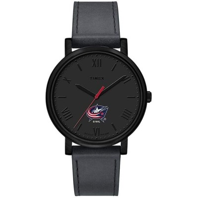 Timex Women's NHL Night Game 42mm Watch   Columbus Blue Jackets with Gray Leather Strap 並行輸入品