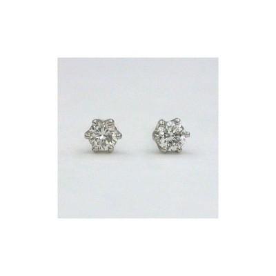 プラチナ(PT900)ダイヤモンド(VS2 H) total 0.12カラット 六本爪ピアス
