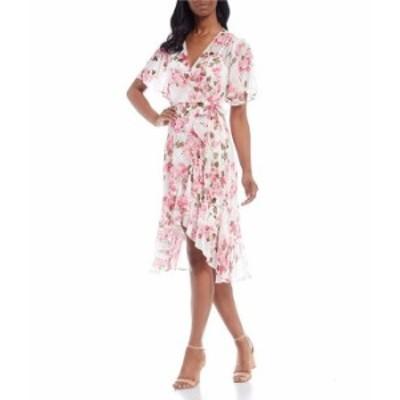 カルバンクライン レディース ワンピース トップス Short Sleeve Floral Chiffon Wrap Dress Berry Multi