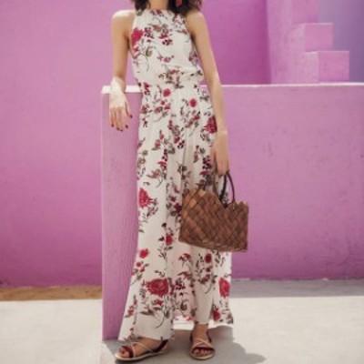 花柄 ワンピース マキシ丈 ロングワンピース リゾート ファッション ハワイアン 夏服 レディース 韓国 ファッション