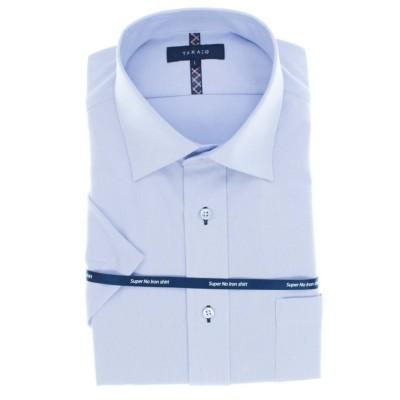【タカキュー】 ノーアイロンストレッチ レギュラーフィットワイドカラー半袖ニットシャツ メンズ ブルー LL(XL) TAKA-Q