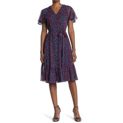 カルバンクライン レディース ワンピース トップス Flutter Short Sleeve Floral Print Midi Dress RED MULTI