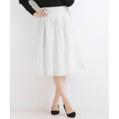 【マリン フランセーズ/LA MARINE FRANCAISE】 80/-ローンドットプリント 脇リボンスカート