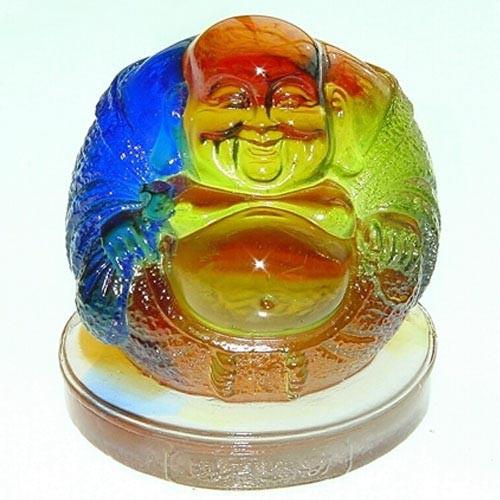 佛像琉璃 賜福彌勒佛 求富貴,避邪保平安盛品 長7x寬7x高8cm