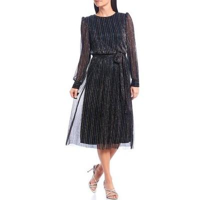 ジェシカハワード レディース ワンピース トップス Long Sleeve Tie Waist Glitter Mesh Midi Dress