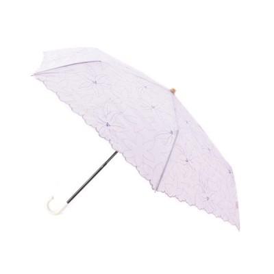 折りたたみ傘 リリーフローレット刺繍ミニパラソル