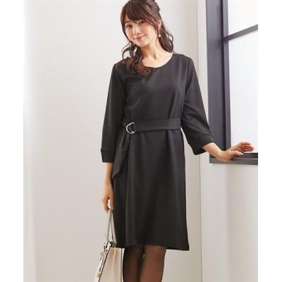 ウエストマークですっきり見せ♪着心地快適なカットソーワンピース (ワンピース)Dress